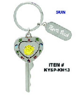 Heart Key Spinner Keychains Sun