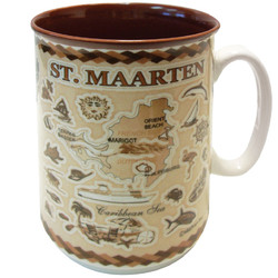 St. Maarten Embossed Brown Map CERAMIC MUG