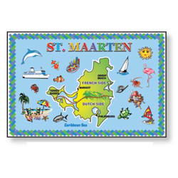St. Maarten Map METAL MAGNET