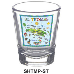 ST. THOMAS MAP SHOT GLASSES
