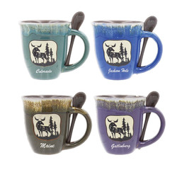 Glazed Ceramic Spoon Mugs Moose