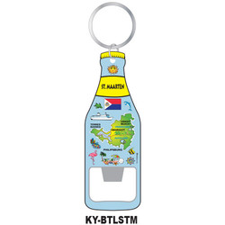 St. Maarten Map KEY CHAIN BOTTLE OPENER