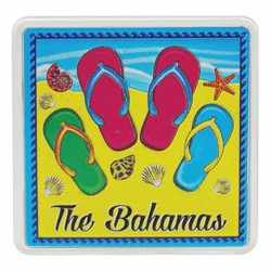 The Bahamas FLIP FLOPS Acrylic Foil Magnets
