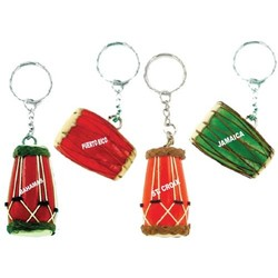 LEATHER & WOOD DRUM KEYCHAIN