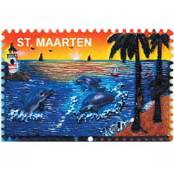 DOLPHIN LIGHTHOUSE CERAMIC STAMP MAGNET