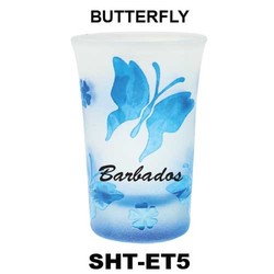 BUTTERFLY etched tapered shot glasses