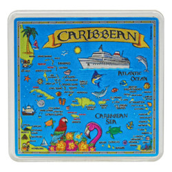 The Caribbean MAP Acrylic Foil Magnets