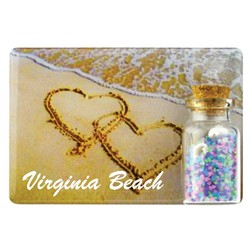Hearts Color Sand and Shell Bottle Magnet