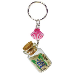 SHELL DANGLING SAND FILLED KEYCHAINS
