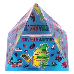 St. Maarten Map Crystal Pyramid Paperweight