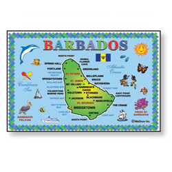BARBADOS MAP METAL MAGNET