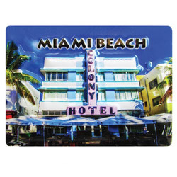 MIAMI BEACH EMBOSSED RUBBER MAGNET