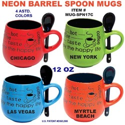 Neon Barrel Spoon Mugs