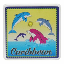 The Caribbean DOLPHINS Acrylic Foil Magnets