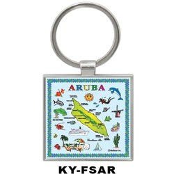 ARUBA MAP SQUARE KEYCHAIN