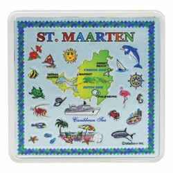 ST. MAARTEN Map Acrylic Foil Magnets