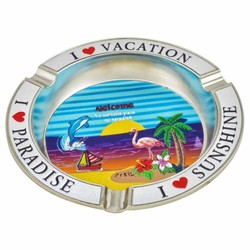 Tropical Scene Metal Foil Ashtray