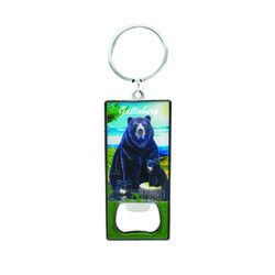 Metallic Bottle Opener Keychain Black Bear
