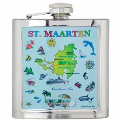 ST. MAARTEN MAP Foil Flask