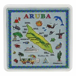 ARUBA Map Acrylic Foil Magnets