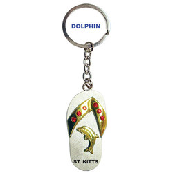DOLPHIN PEWTER SANDAL KEYCHAIN