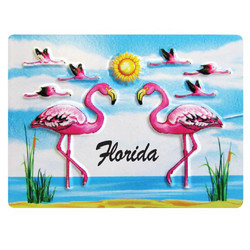 FLAMINGO EMBOSSED RUBBER MAGNET