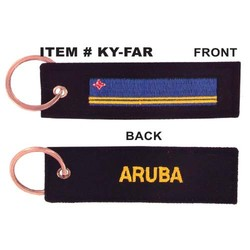 EMBROIDERED ARUBA FLAG KEYCHAIN