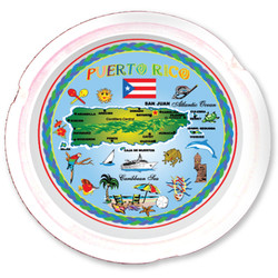 Puerto Rico Map Ceramic Ashtray