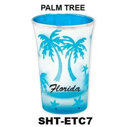 PALM TREE etched color tapered shot glasses