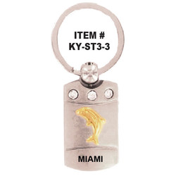 DOLPHIN PEWTER KEYCHAIN With CRYSTALS