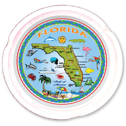 Florida Map Ceramic Ashtray
