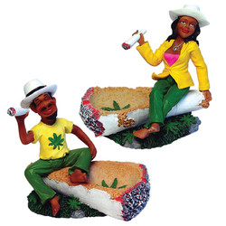 Rasta Couple Ceramic Ashtray