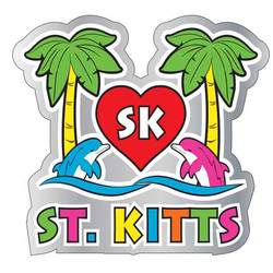 I LOVE ST KITTS ENAMEL NEON MAGNET