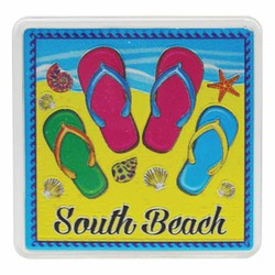 South Beach FLIP FLOPS Acrylic Foil Magnets