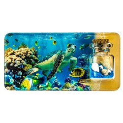 Turtle and Fish Scene Sand and Shell Bottle Magnet
