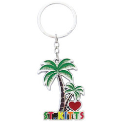I LOVE ST. KITTS PALM TREE KEYCHAINS
