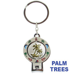PALM TREE SPINNER NAIL CLIPPER KEYCHAIN