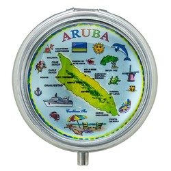 Aruba Map Glass Top Pill Box