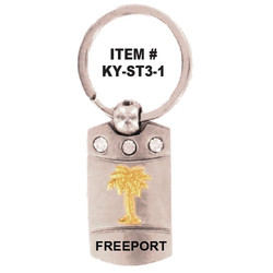 PALM TREE PEWTER KEYCHAIN With CRYSTALS