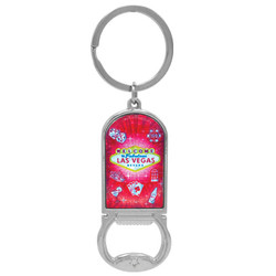 LAS VEGAS METALLIC BOTTLE OPENER KEYCHAIN