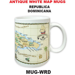 Republica Dominicana Antique White Map Mug