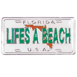 FLORIDA LIFE'S A BEACH ENAMEL LICENSE PLATE