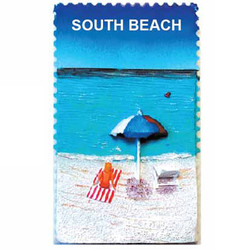 BEACH UMBRELLA CERAMIC STAMP MAGNET