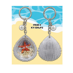 Clam Shell Keychains Starfish & Sand Filled