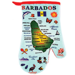 Barbados Map Cotton Oven Mitts