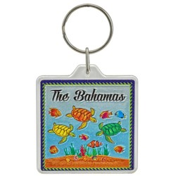 THE BAHAMAS, Turtles Acrylic Foil Key Chain