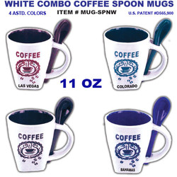 White Combo Coffee Spoon Mugs