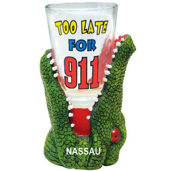 TOO LATE FOR 911. Alligator Shot Glass