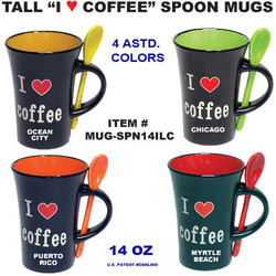 Tall I Love Coffee Spoon Mugs