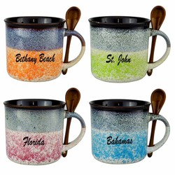 Mug-Spn130 GLAZED CERAMIC SPOON MUGS. 16 Oz.